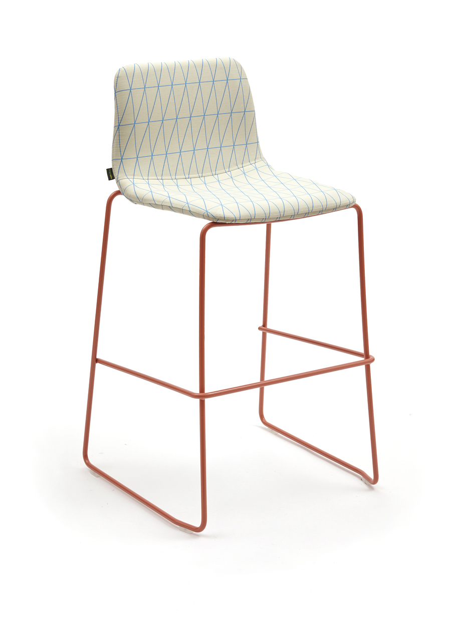 Front angled view of naughtone Viv Stool with orange base and patterned cream and blue upholstery