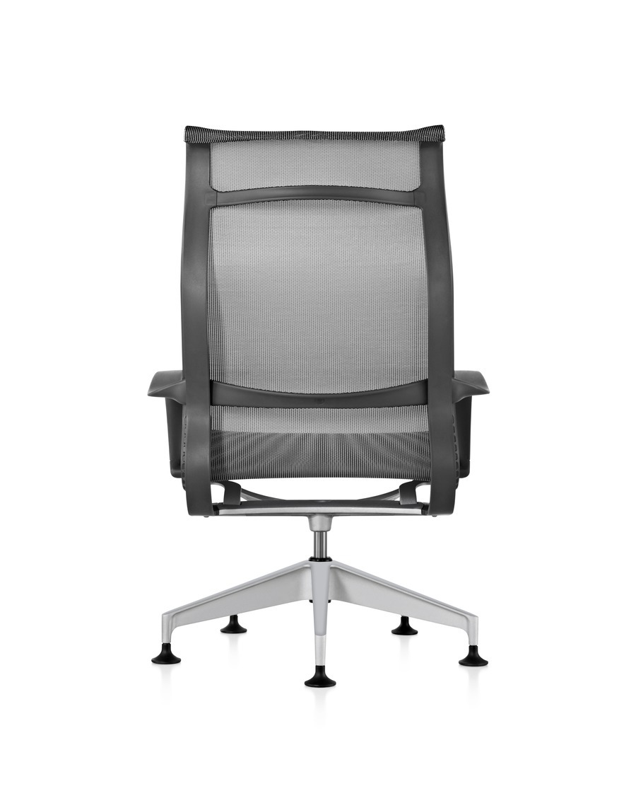 Rear view of a black Setu Lounge Chair with a suspension seat and back.