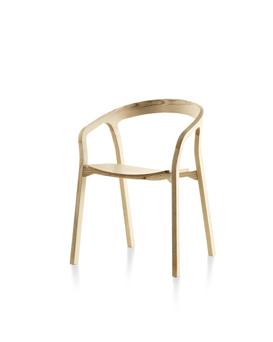 Front angled view of a wood Mattiazzi She Said stackable side chair with a light finish.
