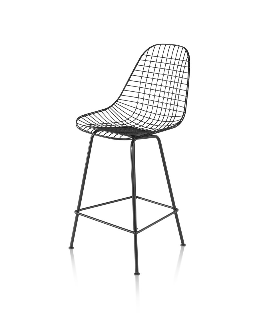 Eames Wire Stool Outdoor with black finish in counter height, viewed at 45 degree angle from front