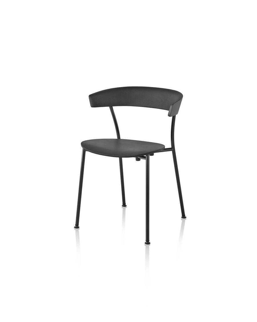 A black Leeway Chair with black metal base, viewed from an angle.