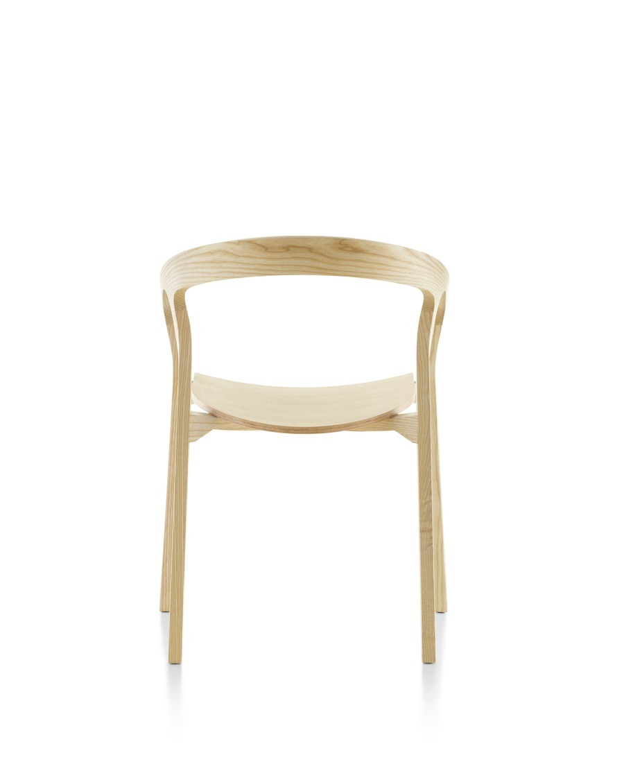 Wood Mattiazzi She Said stackable side chair with a light finish, viewed from the rear.