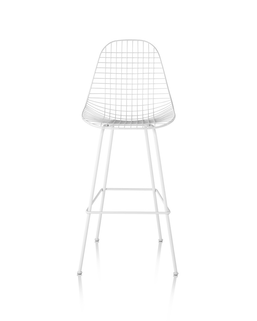 Eames Wire Stool Outdoor with white finish and bar height base, viewed from the rear