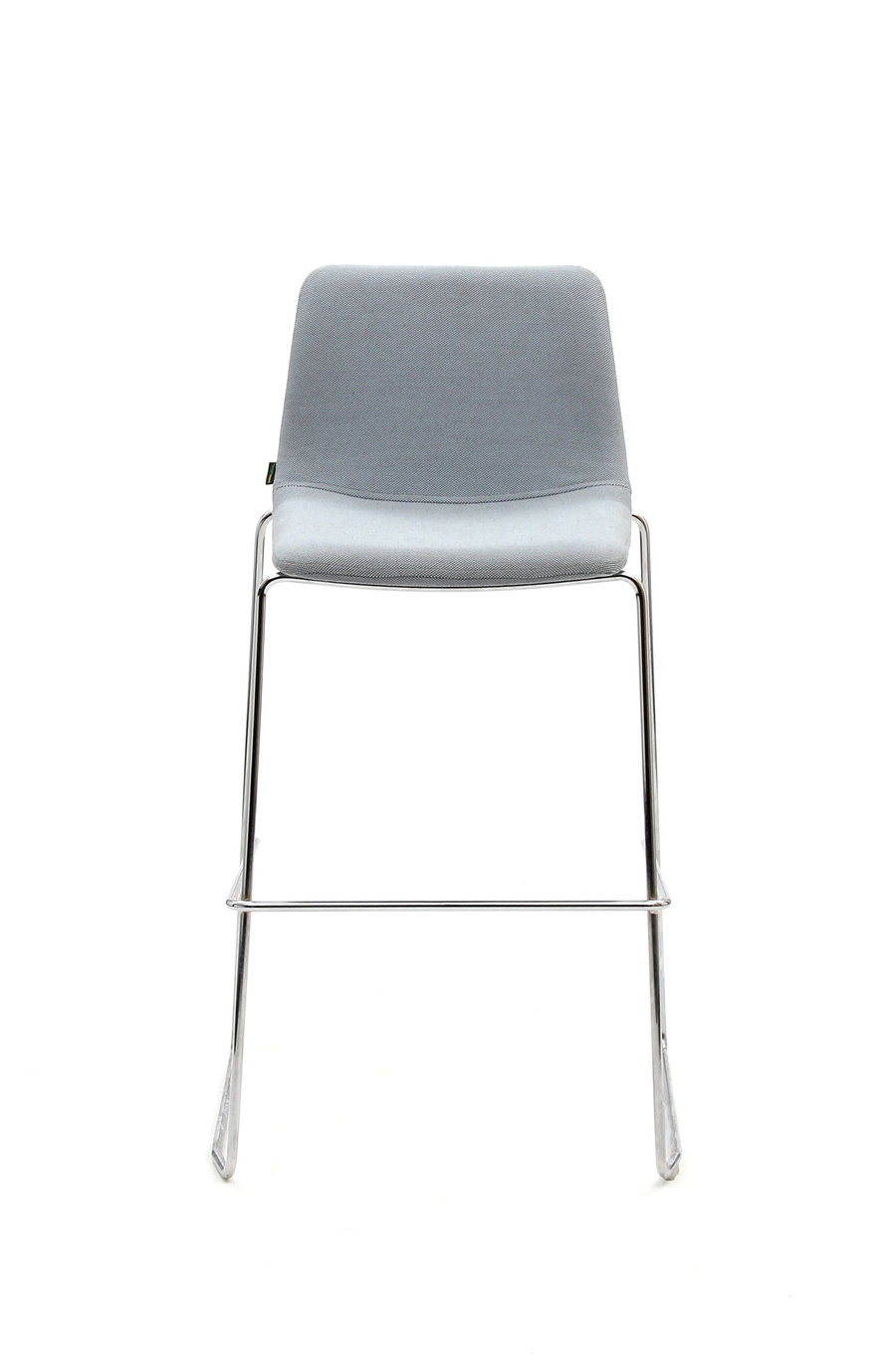 A gray naughtone Viv Stool with a metal base, viewed from the front.
