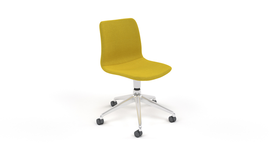 A dark yellow upholstered naughtone Viv Chair with a metal 5-star base, viewed at an angle from the front, on wheels