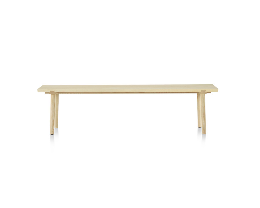 Mattiazzi Facile Bench in natural ash, viewed from the front.
