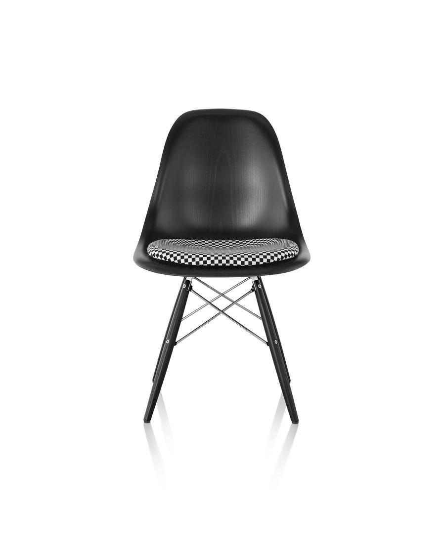 Eames Molded Wood Chair with Upholstered Seat Pad, ebony shell and ebony wire base