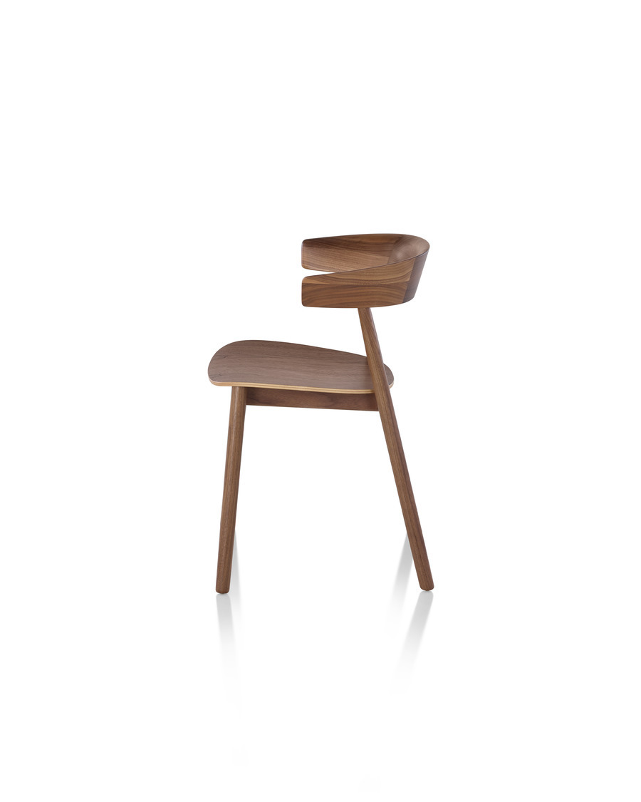 Walnut Leeway Chair viewed from the side