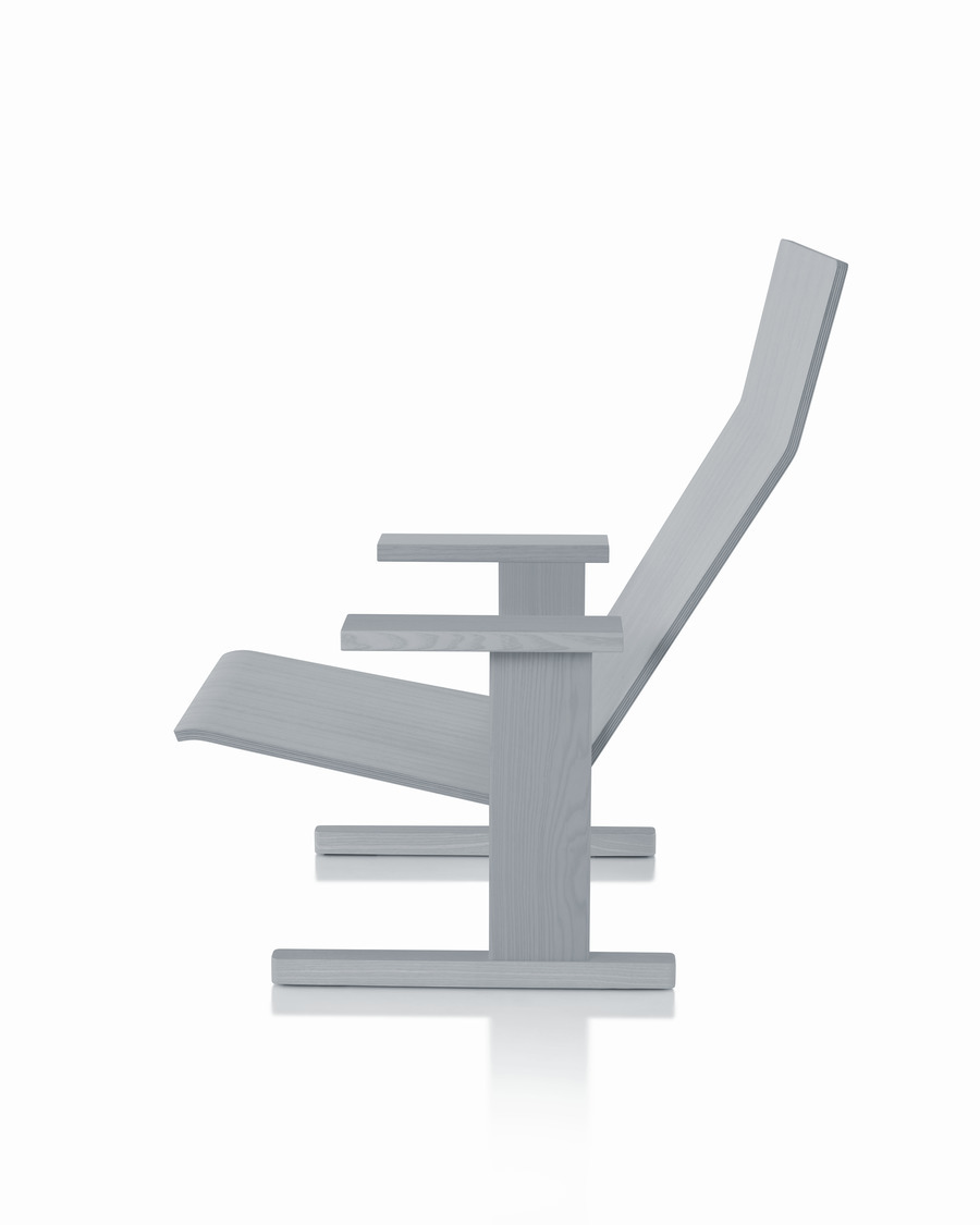 Gray ailin ash Mattiazzi Quindici Lounge Chair, viewed from the side.