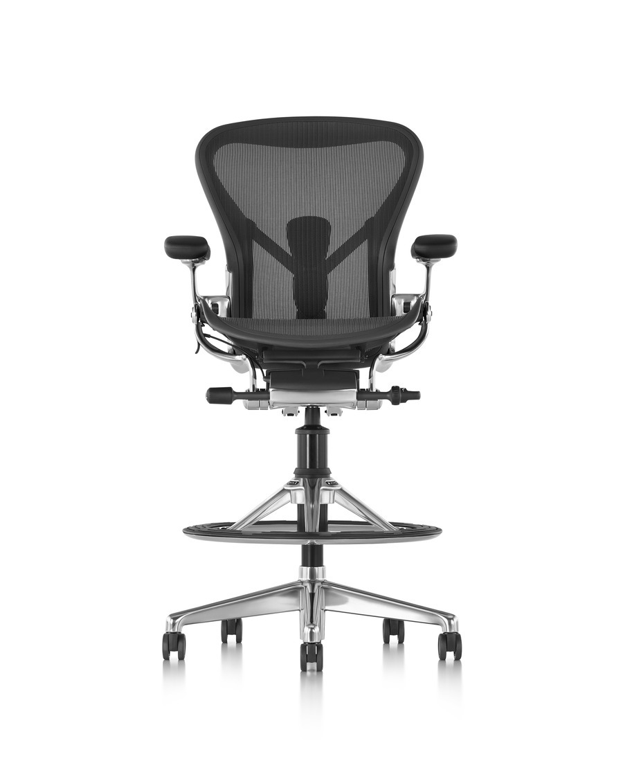 Front view of a black Aeron Stool