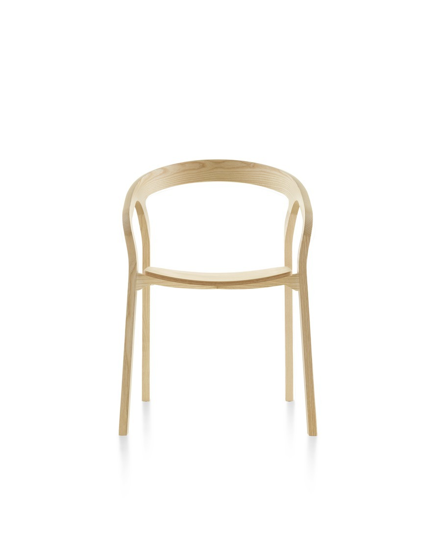 Front view of a wood Mattiazzi She Said stackable side chair with a light finish.