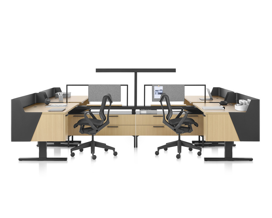Canvas Vista workstations in light wood and black with modesty screens, a t-shaped light, and black Cosm office chairs.