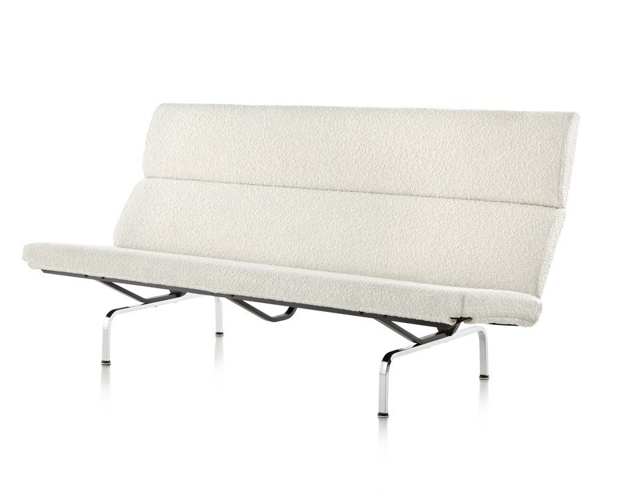 Front angled view of white Eames Sofa Compact