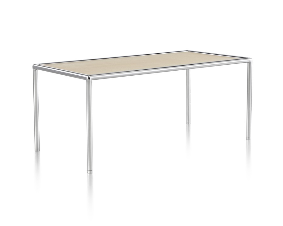 An angled view of a rectangular Full Round Table with a tan top and tubular metal frame.