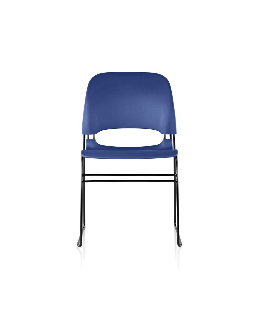 Blue Limerick chair with black base, viewed from the front