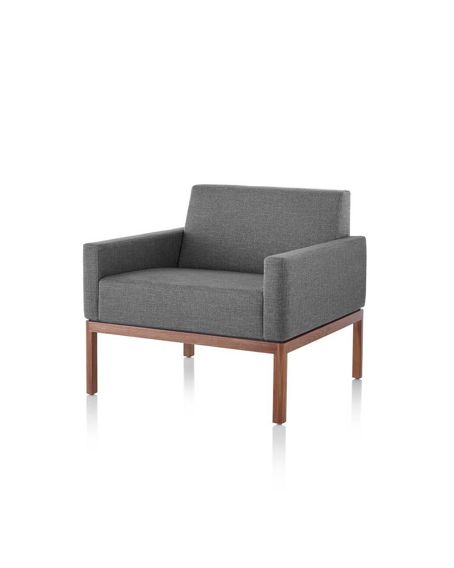 Dark Gray Wood Base Lounge Seating Armchair with dark wood base, viewed from the front at an angle.