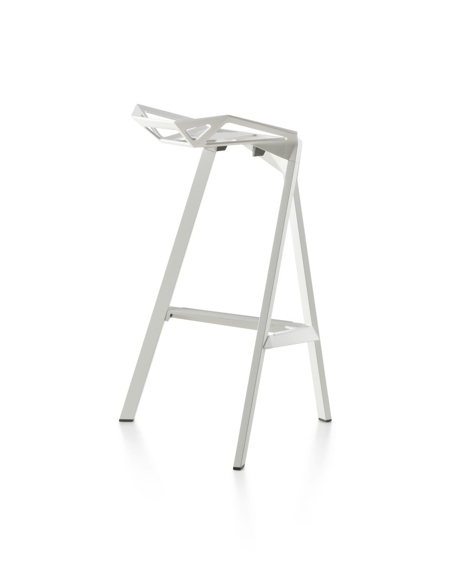 Three-quarter rear view of a white Magis Stool_One stackable stool.