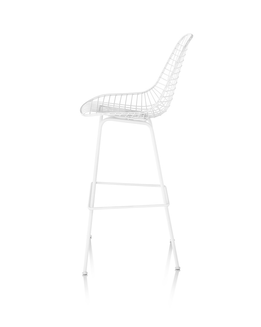 Side view of white Eames Wire Stool Outdoor