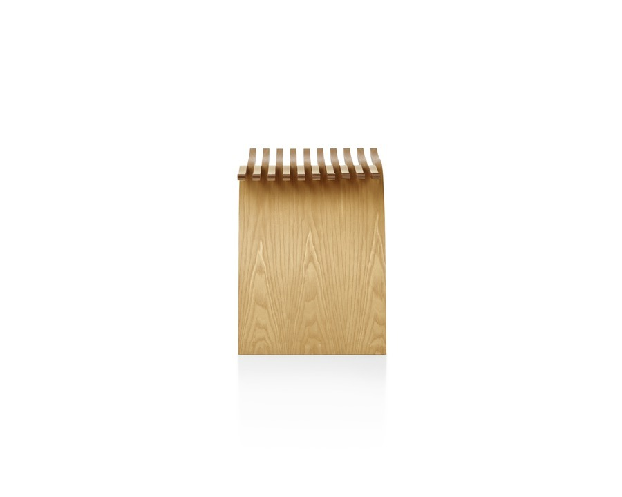 Side view of a molded plywood Capelli Stool with a light ash veneer