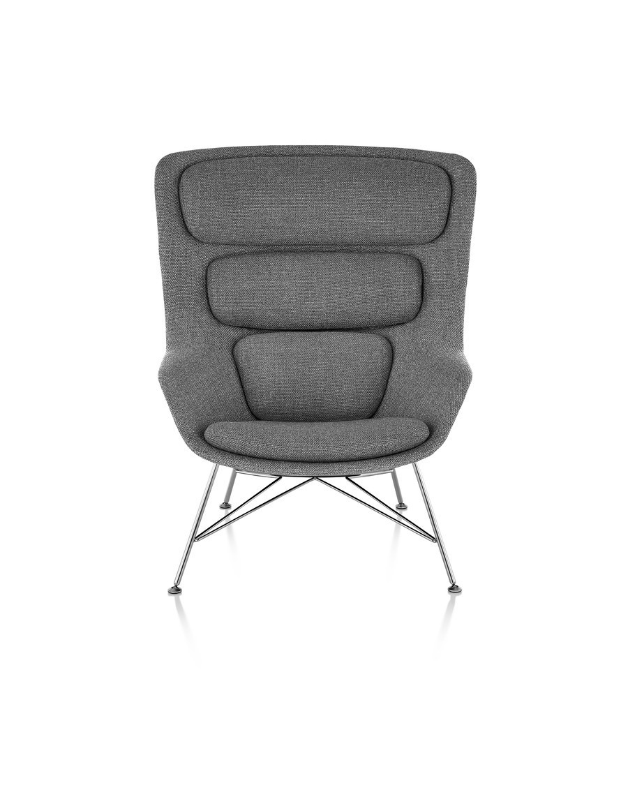 Front view of a high-back Striad Lounge Chair in gray upholstery.