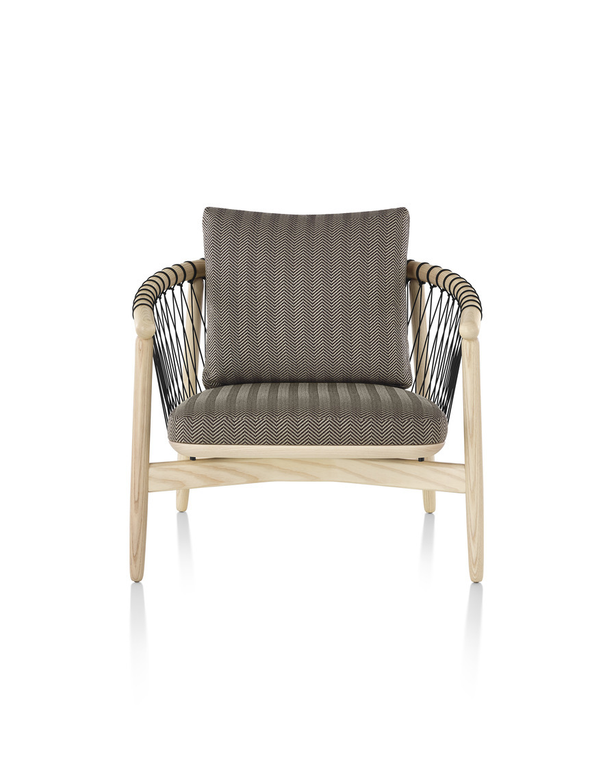 Herringbone Crosshatch Chair with blonde frame, viewed from the front.