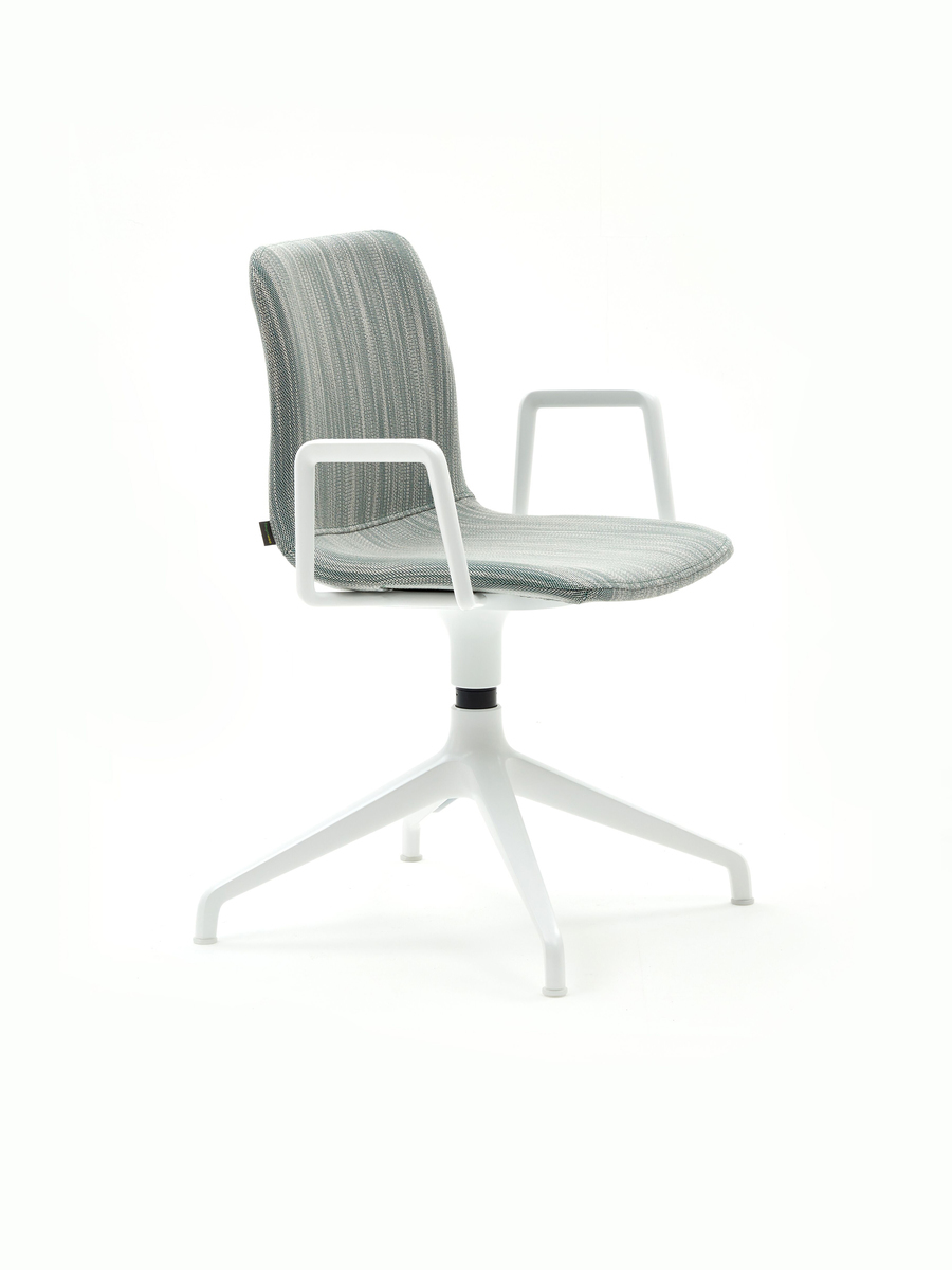 A teal and blue patterned naughtone Viv Side Chair with a white 4-star base, viewed from the front at an angle.