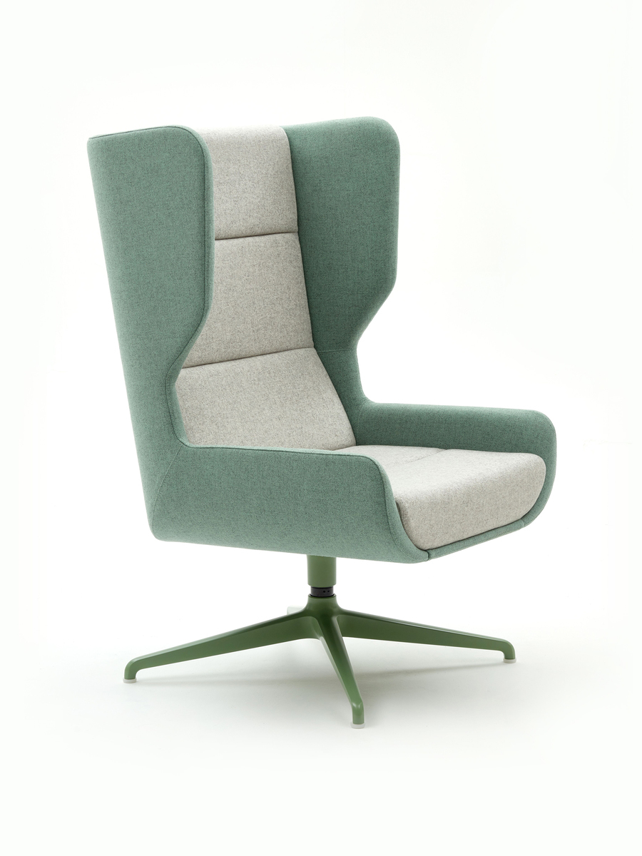 A naughtone Hush Chair with a green back and light gray seat padding and green 4-star base, viewed at an angle.