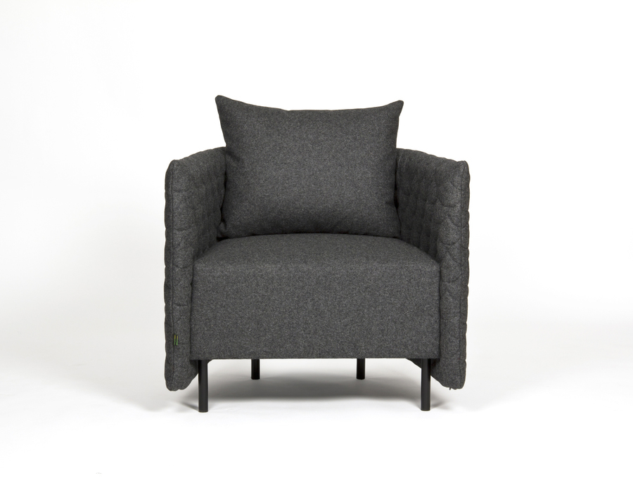 A dark gray naughtone Cloud Quilt Armchair, viewed from the front.