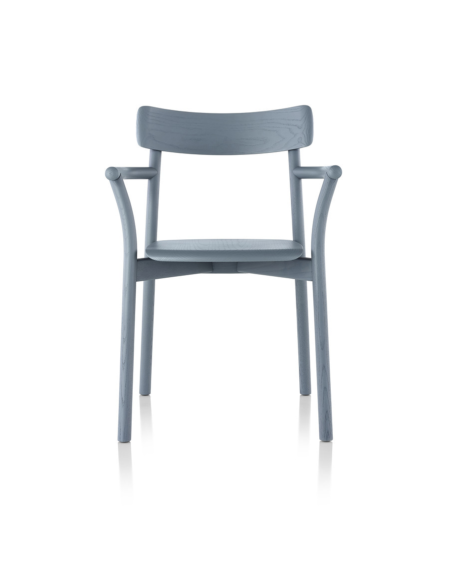 Slate blue Mattiazzi Chiaro stackable side chair, viewed from the front