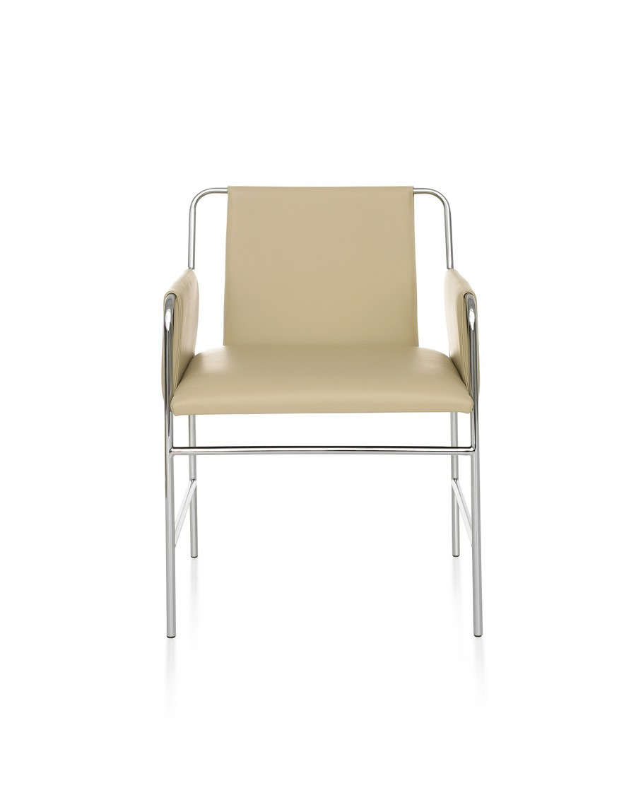 Envelope Chair with tan upholstery, viewed from the front.