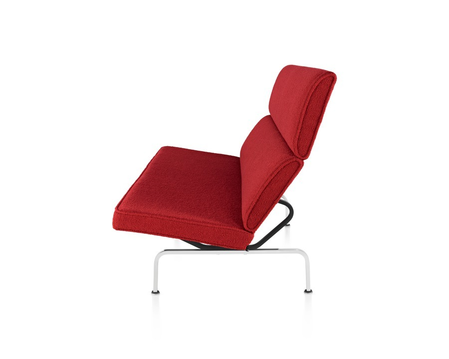 Profile view of red Eames Sofa Compact