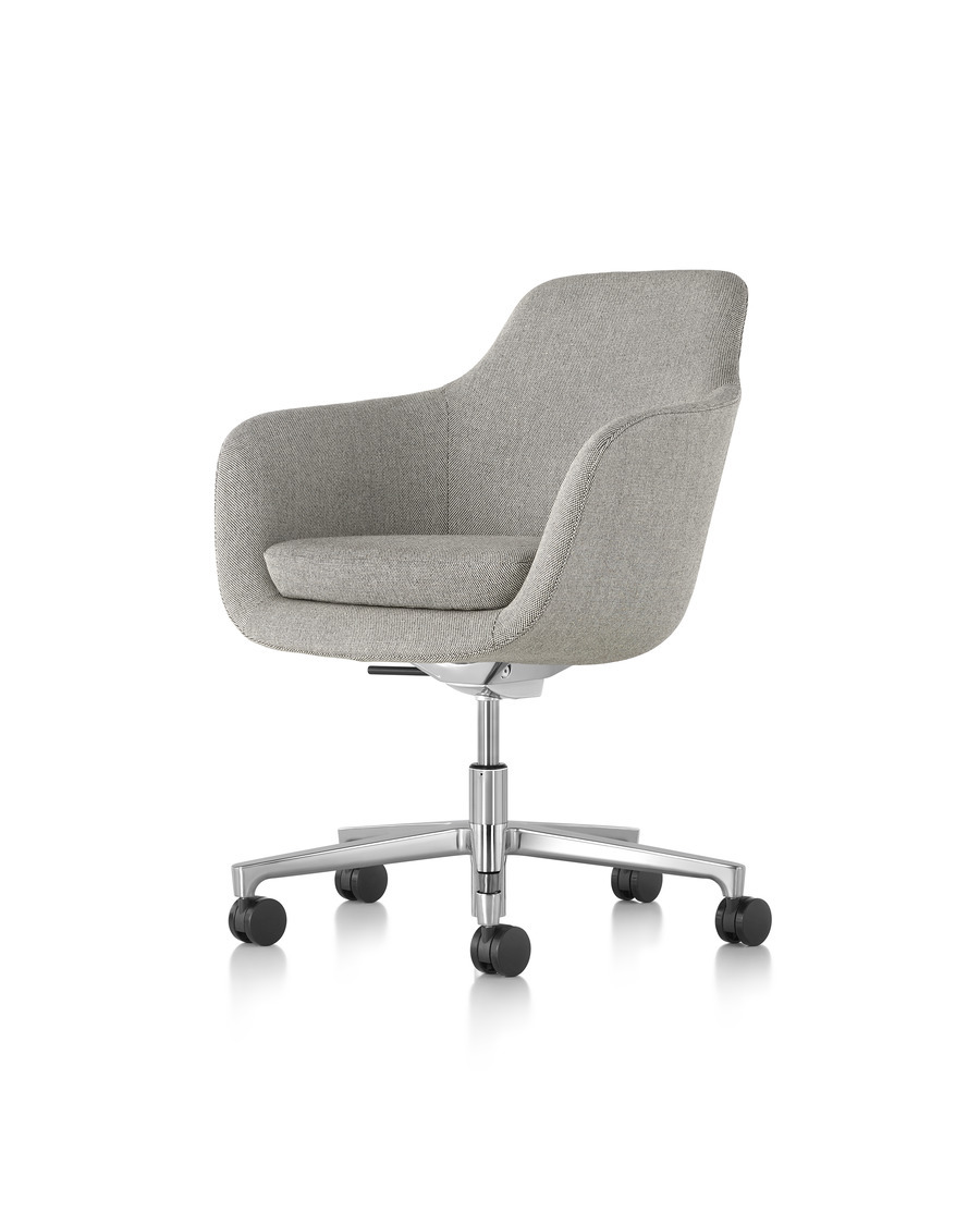 High-back Saiba executive chair in light gray fabric with a polished five-star base and casters, viewed from a 45-degree angle.