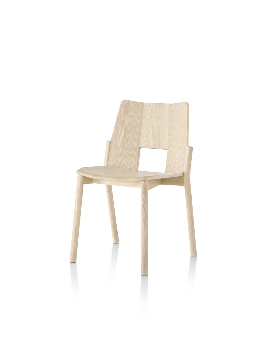 Wood Mattiazzi Tronco stackable side chair, viewed from the front at a 45 degree angle