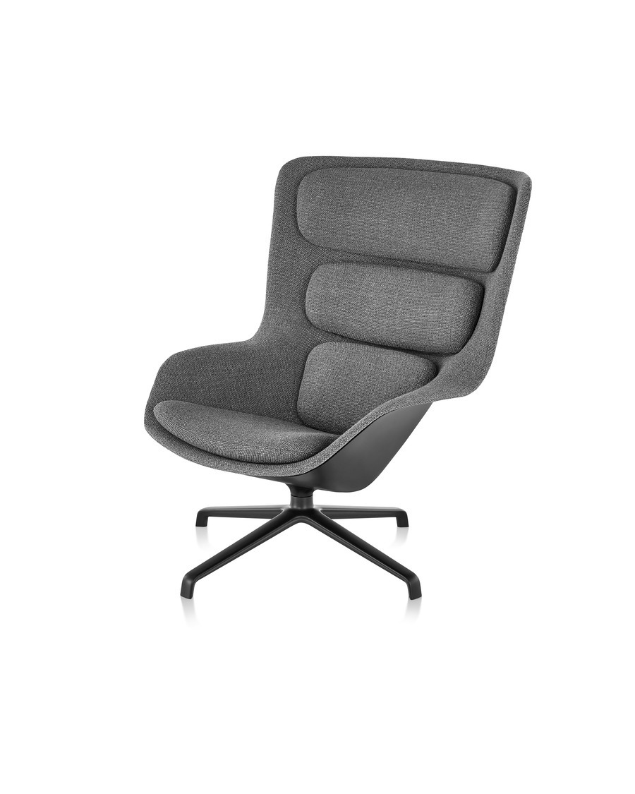 Front angled view of a high-back Striad Lounge Chair in gray upholstery with four-star base.