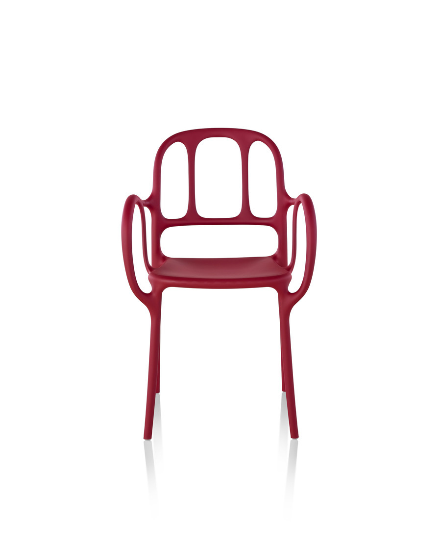 Red Magis Milà side chair, viewed from the front