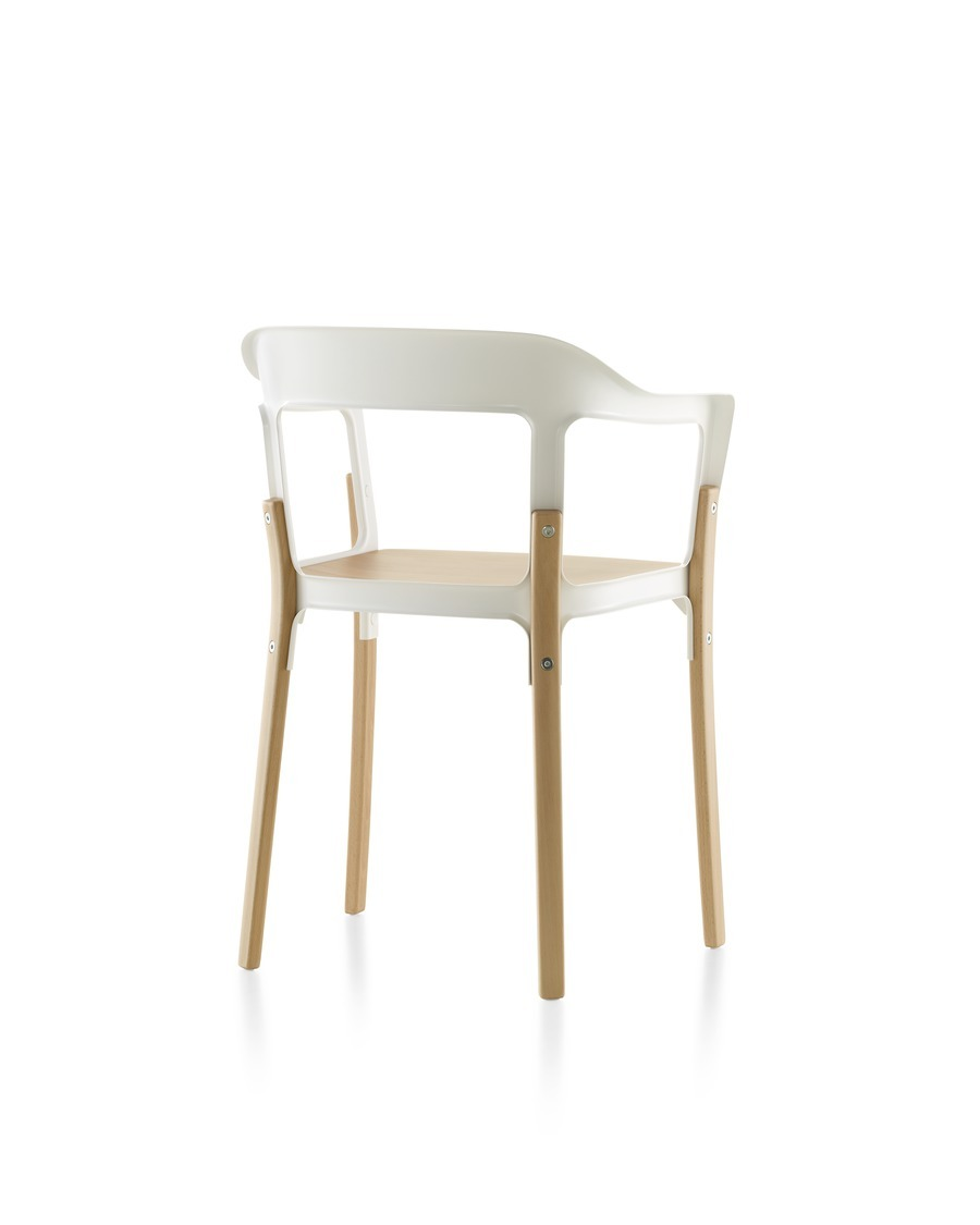 Magis Steelwood Chair, with white back and arms and a natural wood finish on the seat and legs, viewed from the rear at an angle