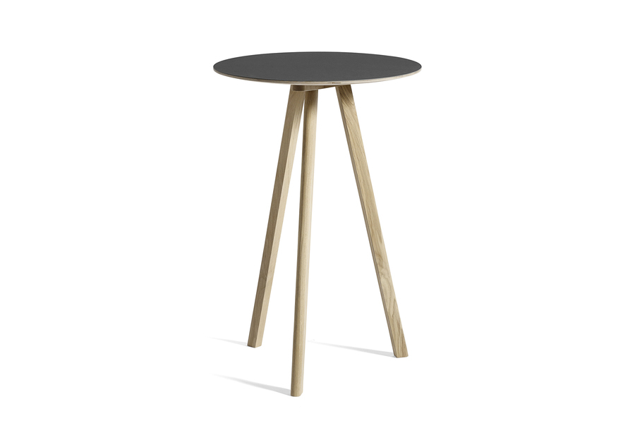 Black Copenhague Bistro Table with wooden legs, viewed at an angle.