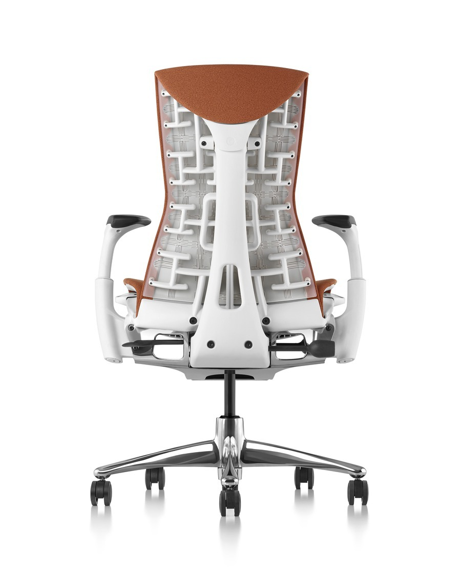 Rear view of burnt orange Embody office chair with a polished aluminum base and white frame, high back, on wheels and with armrests