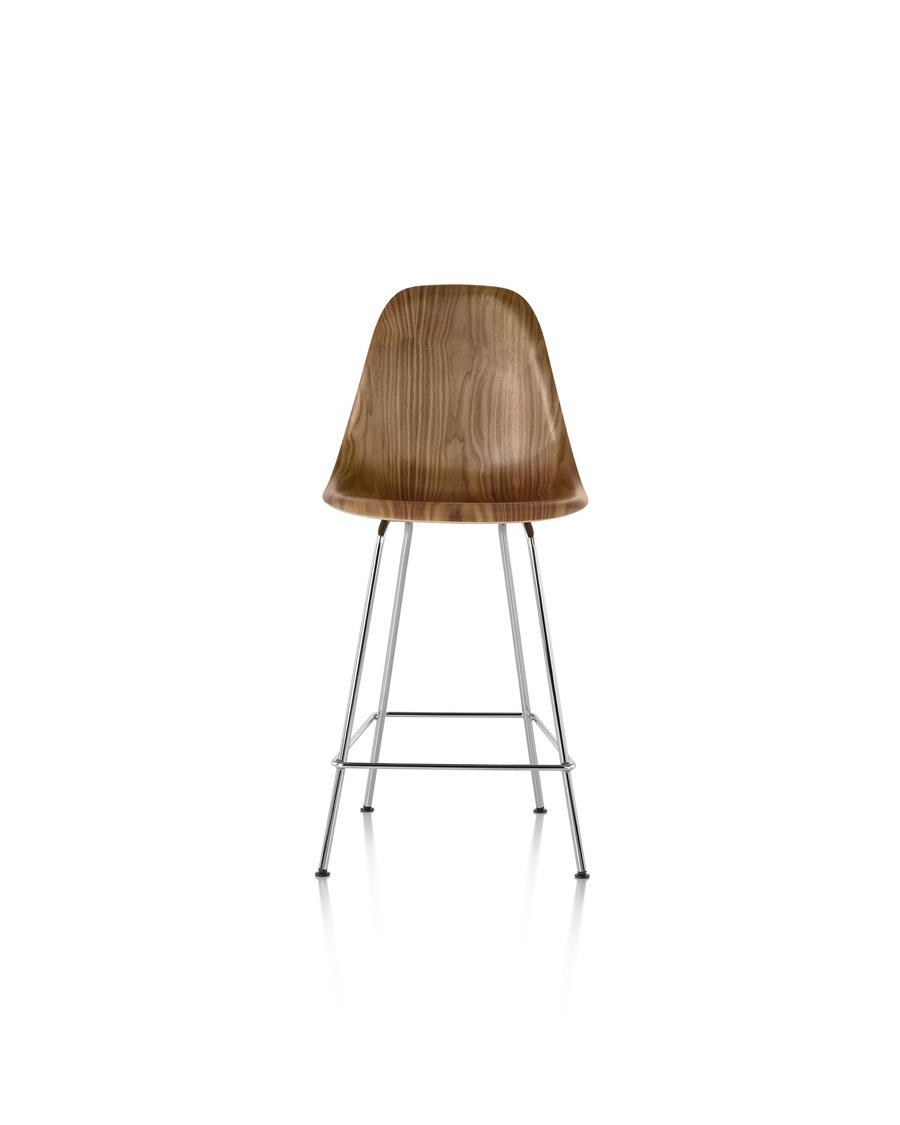 Eames Molded Wood Stool with a dark finish and silver legs, viewed from the front