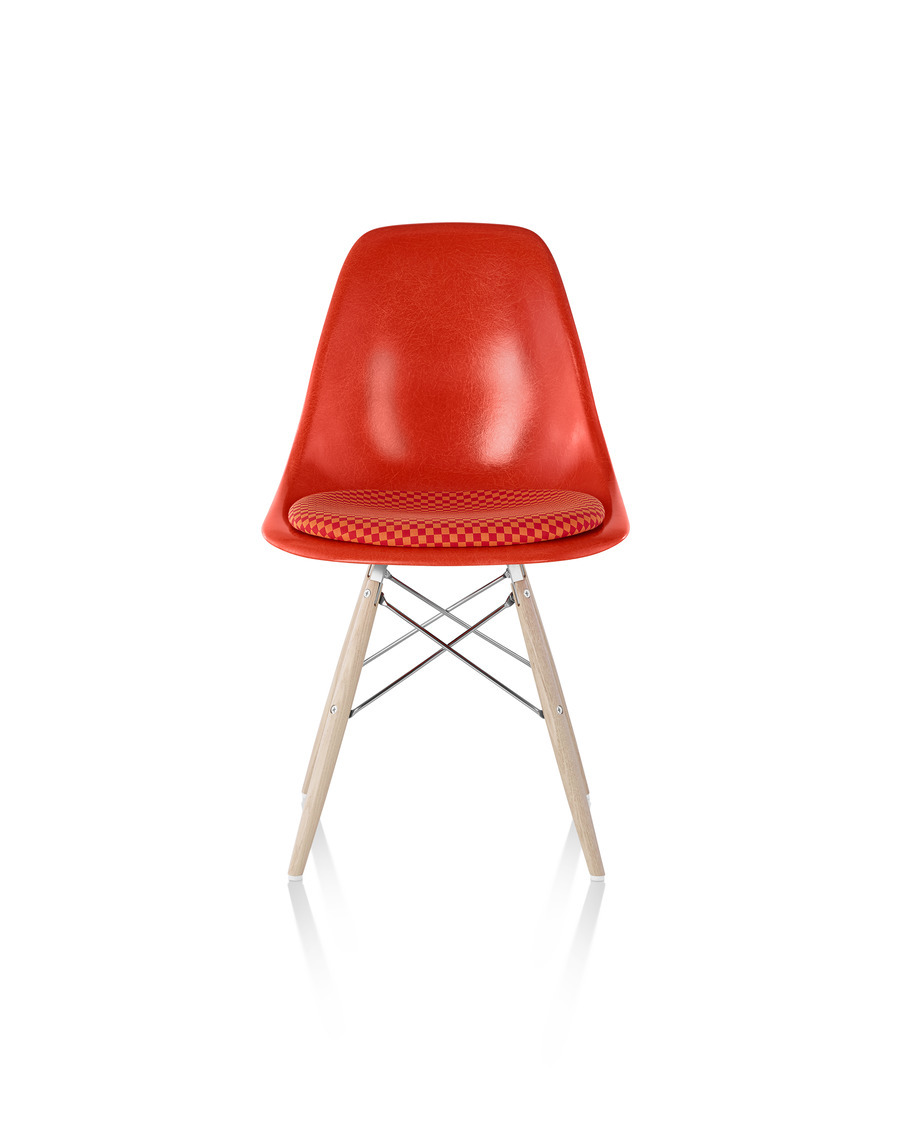 Eames Molded Fiberglass Chair with Upholstered Seat Pad, red orange shell