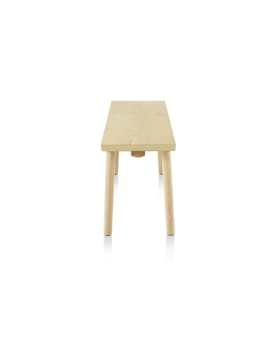 Mattiazzi Facile Bench in natural ash, viewed from the side.