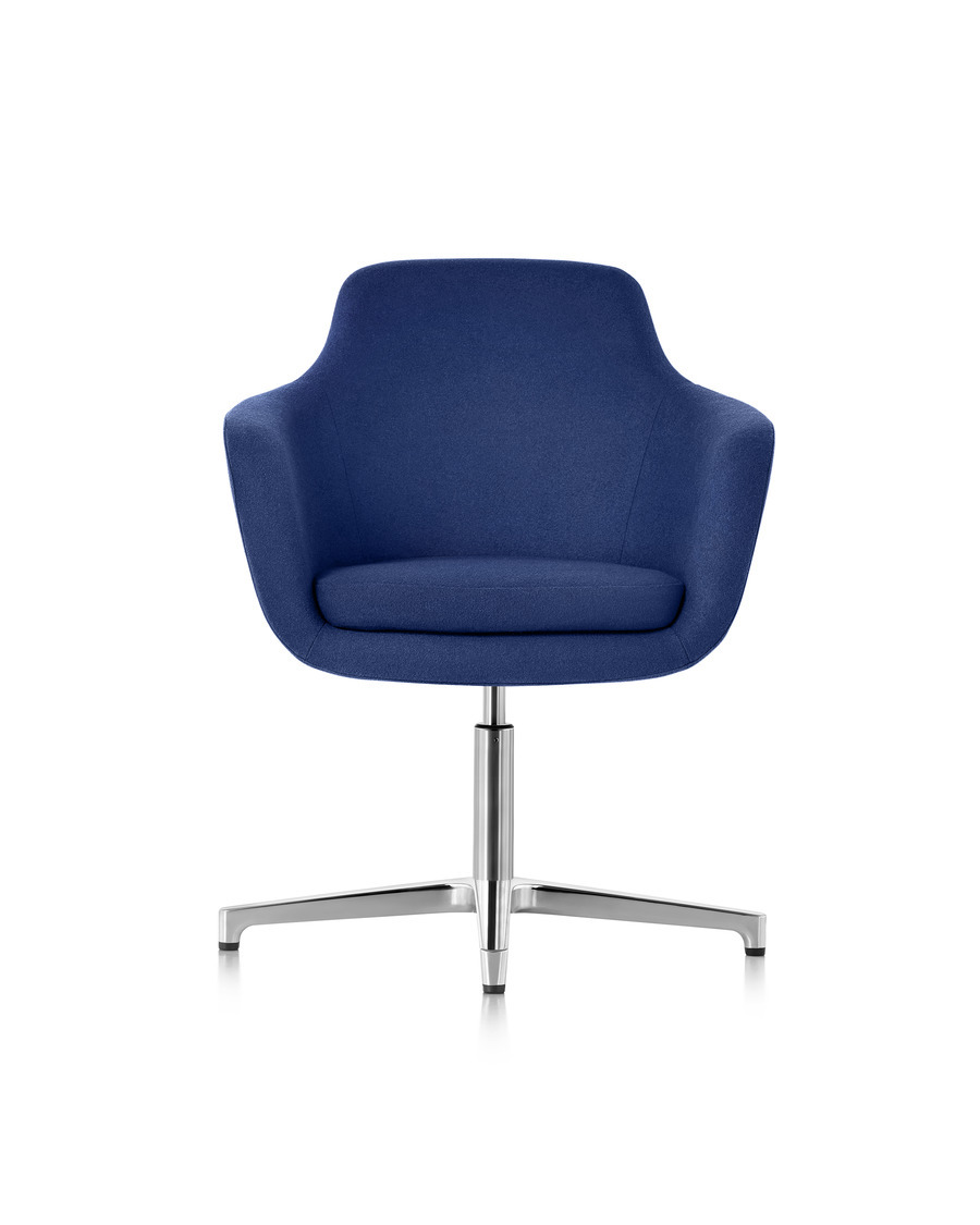 Mid-back Saiba lounge chair in blue fabric with a polished four-star base and glides, viewed from the front