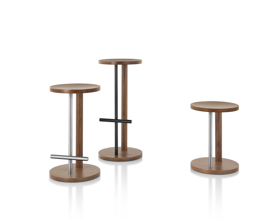 An assortment of three brown Spot Stools in varying sizes