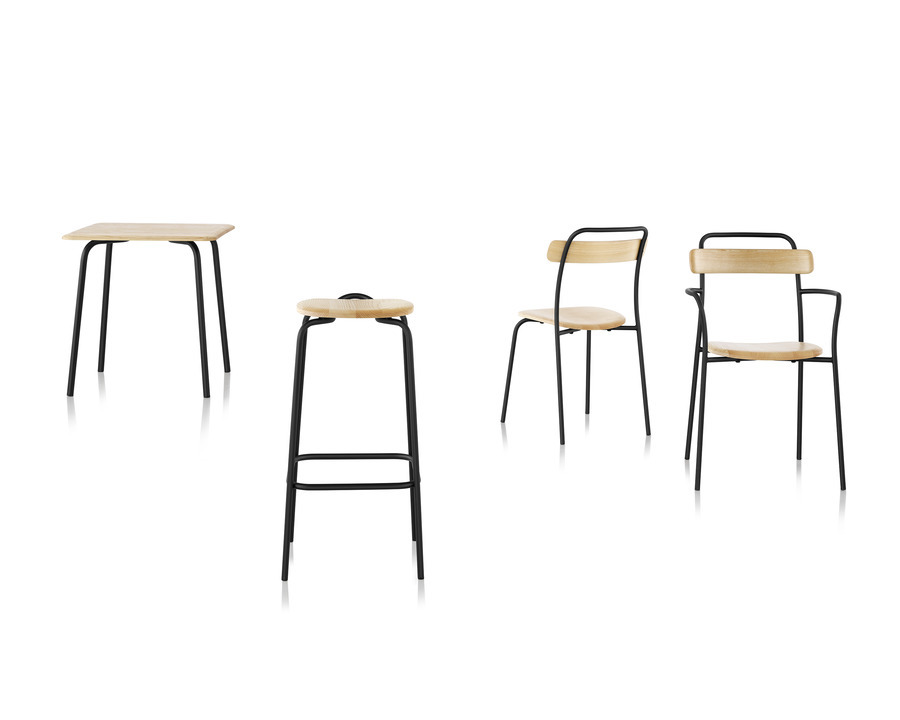 family of Mattiazzi Forcina furniture including two chairs, a stool, and a table