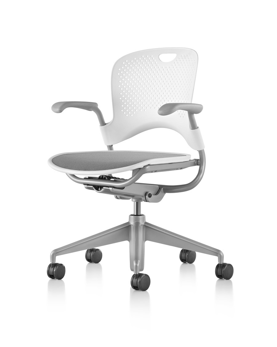 White Caper Multipurpose Chair with a gray seat and base, viewed from a 45-degree angle, on wheels, adjustable seat and with armrests