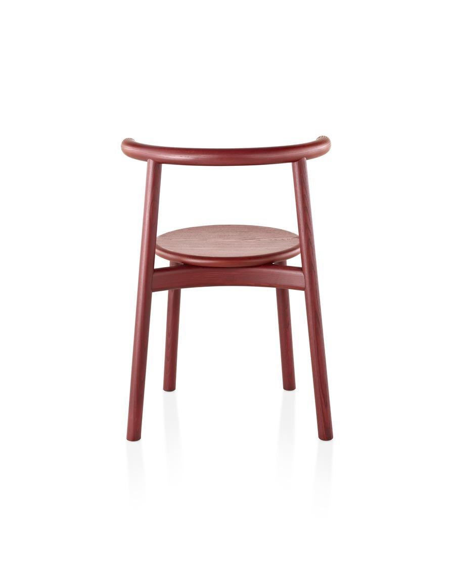 Rear view of dark red Mattiazzi Solo side chair