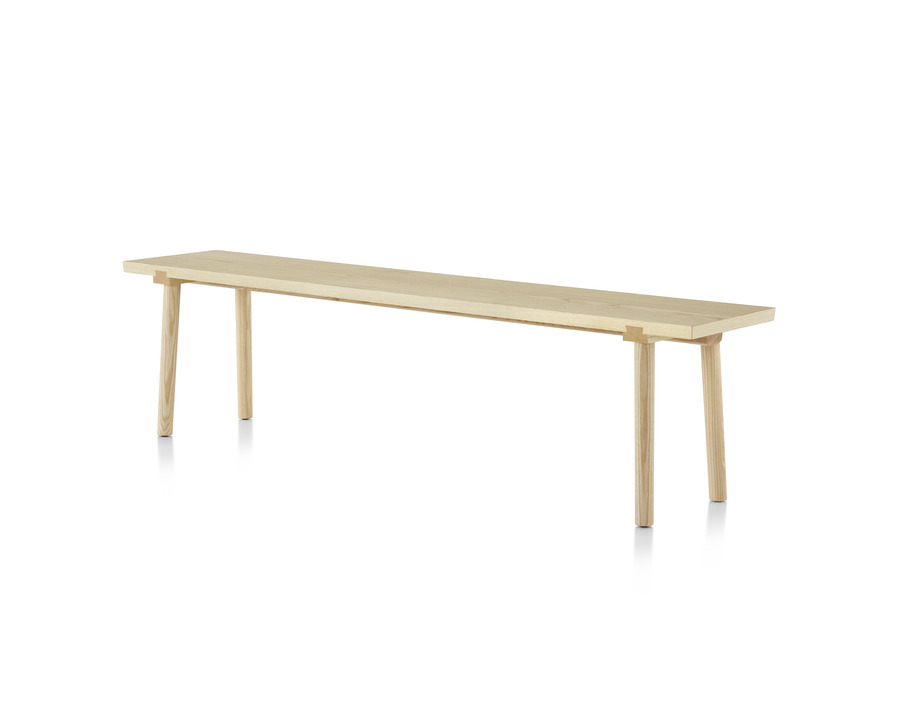 Mattiazzi Facile Bench in natural ash, viewed from an angle.