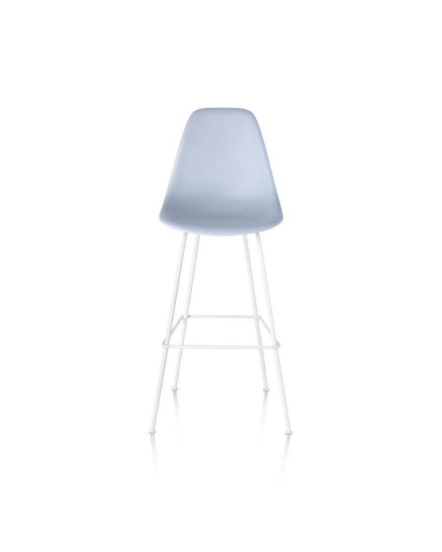 Front view of a light blue Eames Molded Plastic Stool with a white base.