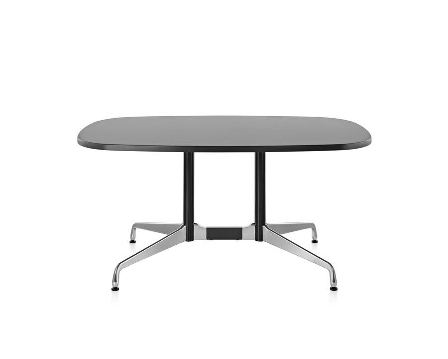 Eames oval table, segmented base, polished aluminum base, laminate top