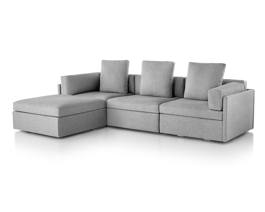 Grey Module Lounge Seating with ottoman, viewed from the front at an angle